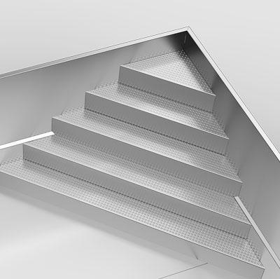 Ecktreppe kantig diagonal